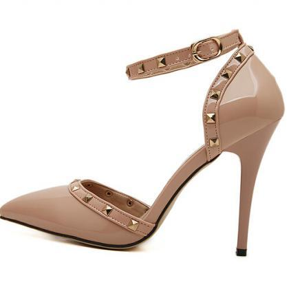 Nude Pointed Toe Ankle Strap High H..