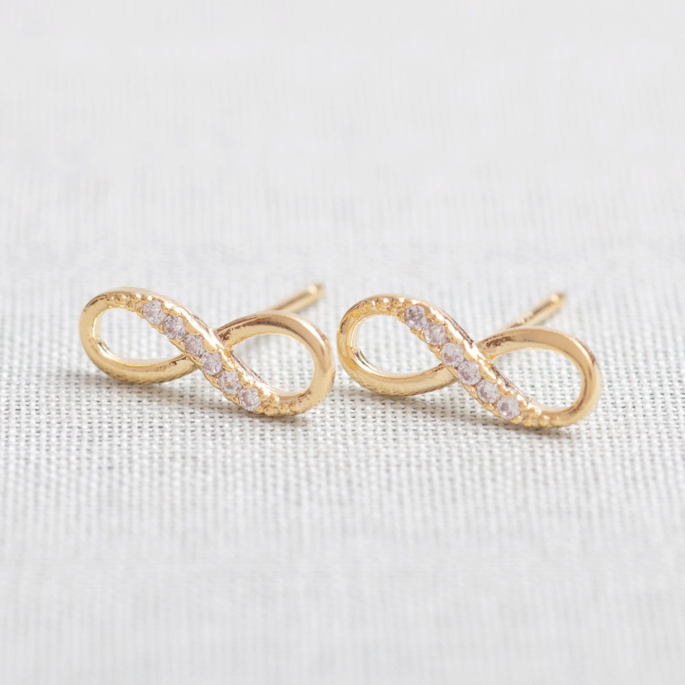 Tiny Infinity Stud Earrings In Gold