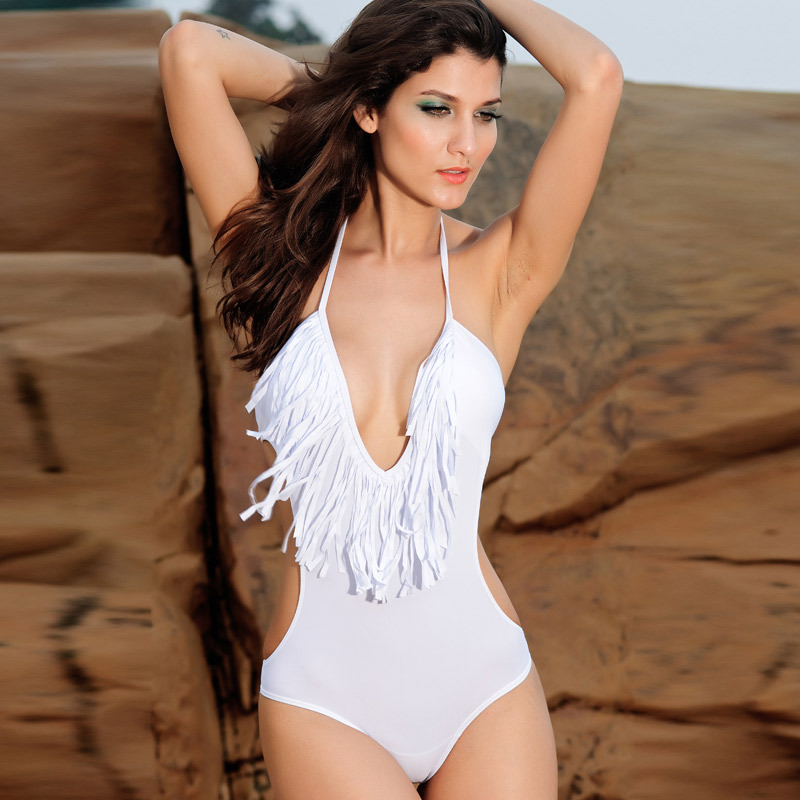45e8cfe634c94 Super Sexy One Piece DeepV-Neck Solid Swimsuit on Luulla