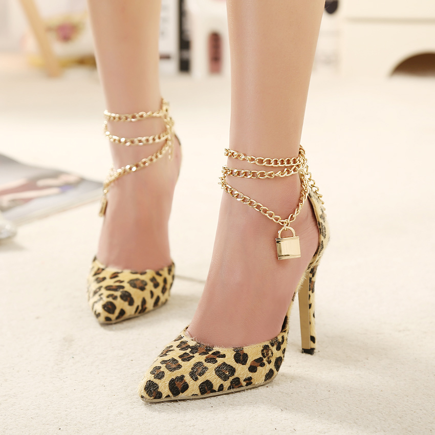 bad01681012 Pointed Toe Leopard High Heels Pumps With Linked Chains Ankle Strap Adorned  With Padlock Charm