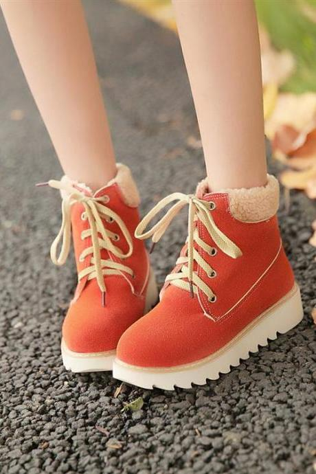 Autumn And Winter Round Toe Flat Mid Heel Lace Up Ankle Boots